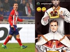 francés del Atlético de Madrid Griezmann y una de sus publicaciones en Instagram. Instagram/antogrie