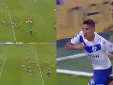 Centurión le dio la victoria a Vélez. Capturas/CONMEBOL