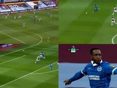Welbeck metió su primer gol de la temporada. Captura/DAZN