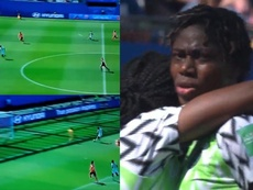 Oshoala se vistió de Lukaku para hacer el segundo de Nigeria. Captura/GOL