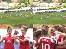 Emma Mitchell anotó el tanto de la victoria. Captura/FAWSL