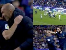 Nacho s'envole dans le ciel de Valladolid pour sauver le Real Madrid. Capture/Movistar