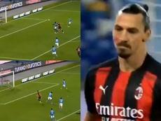 Ibrahimovic scored for Milan. Screenshot/Movistar