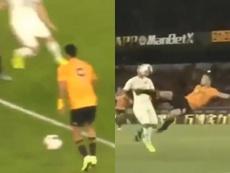 La genialidad de Jiménez y Jota en la goleada de los Wolves. Captura/PremierSports