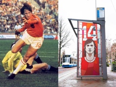 Johan Cruyff in action, and on a bus stop in Amsterdam. AFP
