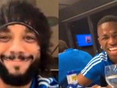 Vinicius morrendo de ri do visual de Marcelo. Instagram/Marcelotwelve