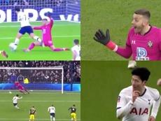 Son dio la victoria con polémica al Tottenham. Captura/DAZN