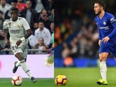La izquierda de Vinicius, la izquierda de Hazard. EFE/AFP