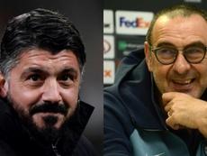 Gattuso y Sarri, dos opciones diferentes para la Roma. AFP