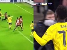 Bukayo Saka volvió a mostrar su faceta goleadora. Capturas/DAZN