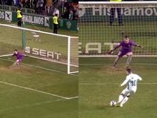 Así se adelantó Herrerín en la tanda de penaltis ante el Elche. Capturas/DAZN