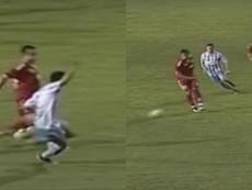 El supuesto penalti que pitó Obradovic. Twitter/BallStreet