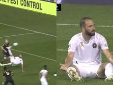 Higuaín debutó en la MLS con una chilena al poste. Capturas/MLS
