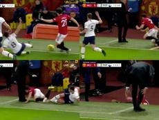 Winks envoie James au sol... et dans les pieds de José Mourinho. Captures/NBCSports