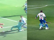 Espanyol felt Vinicius should have been a 2nd yellow for a foul on Granero. Capturas/Movistar+LaLiga