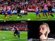 La jugada más famosa de Benzema ante el Atleti. Captura/RMC