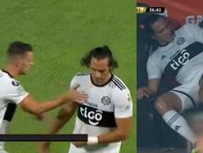 Roque se marchó lesionado a la media hora. Capturas/Libertadores
