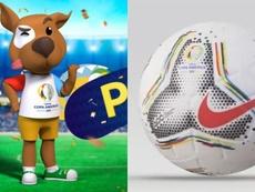 Mascota y balón de la Copa América 2020. Montaje/Twitter/CopaAmérica