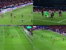Morata perdonó ante Alisson y Salah recibió de un Mané en fuera de juego. Captura/Movistar