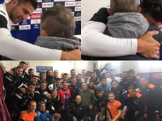 El jugador uruguayo no pudo evitar las lágrimas. Twitter/ExtremaduraUD