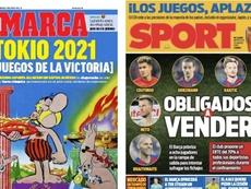 Les Unes des journaux sportifs en Espagne du 25 mars 2020. Sport/Marca