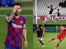 Leo Messi, Cristiano Ronaldo e Robert Lewandowski, três dos goleadores da temporada. EFE- AFP