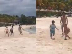 Messi se pasó al fútbol playa por un día. Capturas/SCESPN