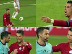 Cristiano Ronaldo, desesperado por llegar a los 700 goles. Capturas/UEFATV