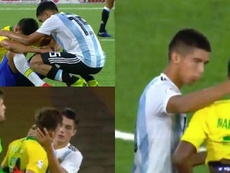 Precioso gesto de los jóvenes argentinos consolando a Brasil. Capturas/TyCSports