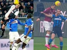 Comparação dos saltos de Cristiano Ronaldo e Zlatan Ibrahimovic. Capturas/DAZN