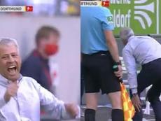 L'allenatore del Dortmund si infortuna festeggiando il goal di Haaland. MovistarLigadeCampeones