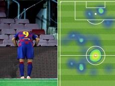 Luis Suárez, pura frustración en la primera mitad. EFE - Twitter