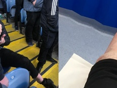 Matt Richardson broke his ankle during Leeds United's celebrations. Twitter/squidgerone
