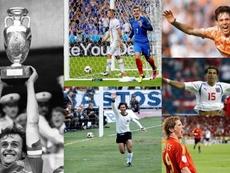 Los máximos goleadores de cada edición de la Eurocopa. EFE - AFP