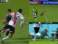 El gol de River llegó con polémica y el árbitro anuló dos más. Capturas/CopaArgentina