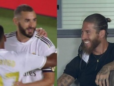 Benzema put Real Madrid 1-0 up v Alaves and Ramos enjoyed it. Captura/MovistarlaLiga