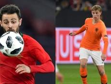 Bernardo Silva e De Jong, os melhores da Liga das Nações. AFP
