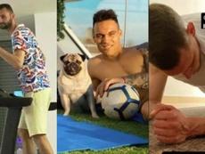 Brozovic, Lautaro e Belotti treinam em casa para evitar os riscos de contágio. Capturas/Instagram