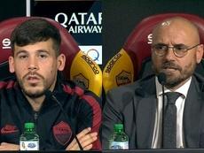Le tacle de la Roma à Carles Pérez. Capture/ASRoma