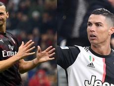 Ibrahimovic e Cristiano Ronaldo devem se enfrentar nesta terça-feira. Montaje/EFE/AFP