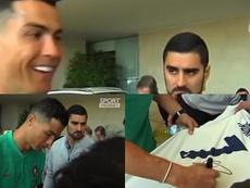 Cristiano se paró a atender a algunos fans. Captura/SportMediaset