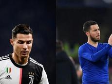 Cristiano se mira en el espejo de Hazard. Montaje/AFP