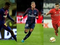 Análisis estadístico de Coutinho, Dembélé y Neymar. BeSoccer
