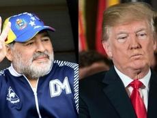 Maradona habló de Venezuela y llamó 'chirolita' a Trump. Montaje/EFE/AFP