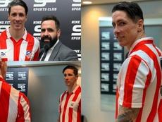 Fernando Torres recibió una camiseta histórica del Atleti con su '9' a la espalda. Twitter/Torres
