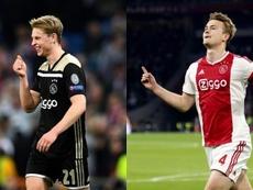 De Jong jugará en el Barcelona y De Ligt, en la Juve. Montaje/AFP