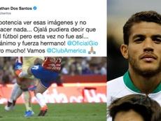La impotencia de Jonathan dos Santos tras la dura entrada a Gio. EFE/Twitter