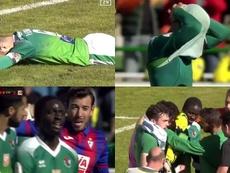 Los jugadores del Eibar fueron a animar a Delgado. Captura/DAZN