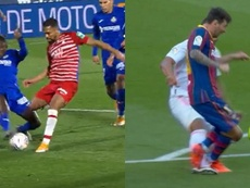 El penalti de Djené con el que compara el Barça por el 'Clásico'. Montaje/Captura/Movistar+