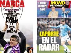 Les Unes des journaux sportifs en Espagne du 23 mars 2020. Montage/Marca/MundoDeportivo